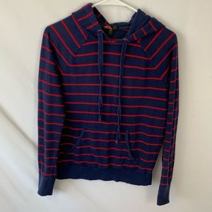 Forever 21 blue and red striped hoodie